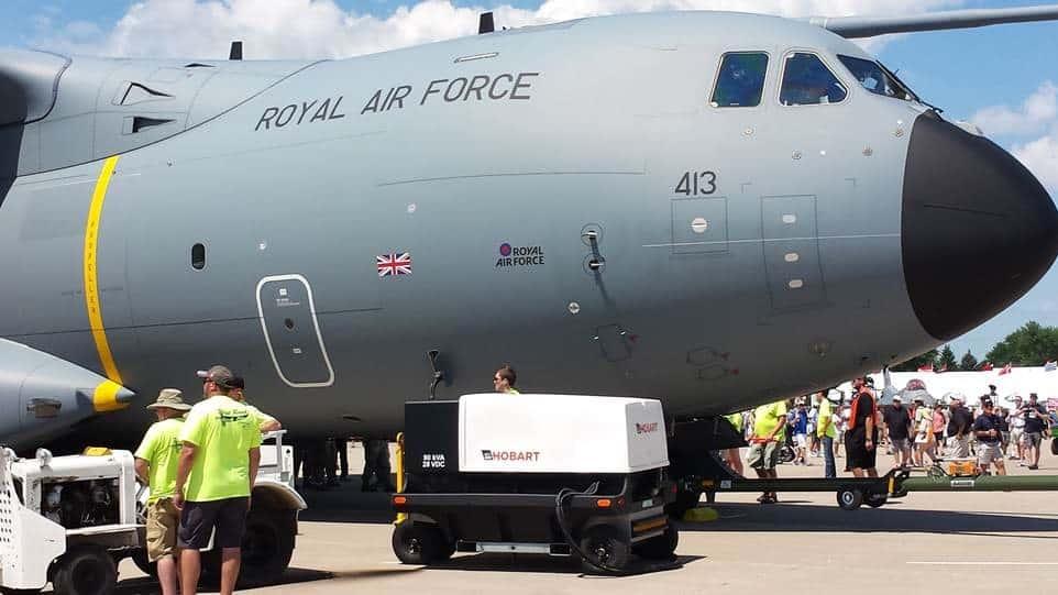 Hobart 4400 GPU providing power to an Airbus A400M
