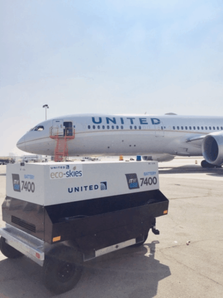 ITW GSE 7400 powering United 737, LAX, US