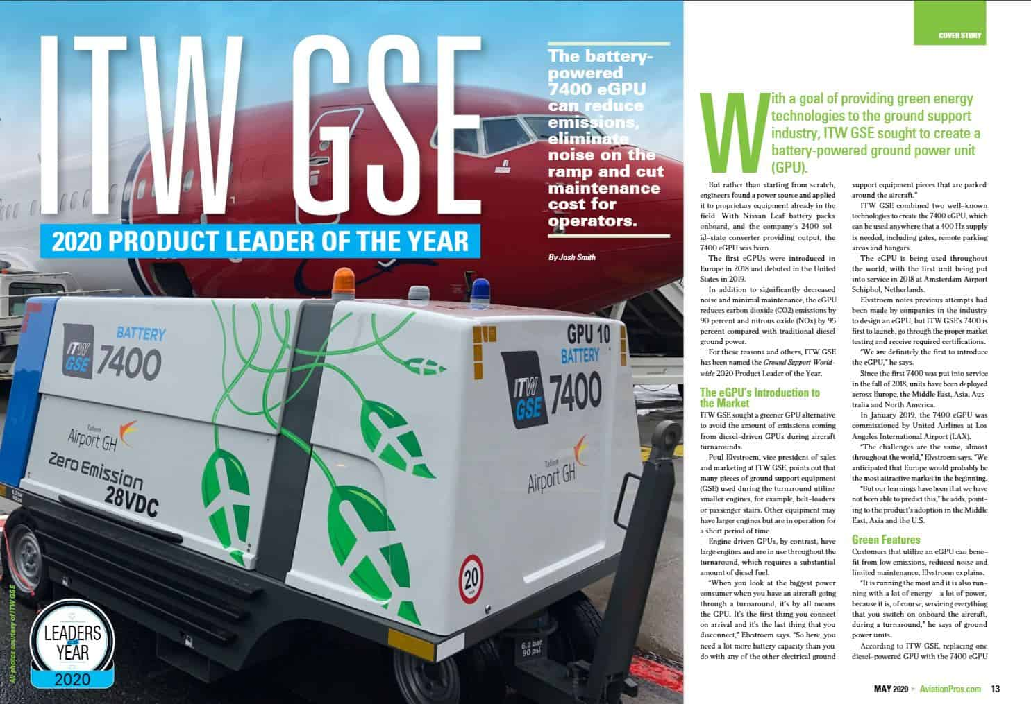 itw gse, itwgse, gsee, product leader of the year 2020, product leader, 7400 eGPU, battery driven gpu, ground power unit, ground support worldwide